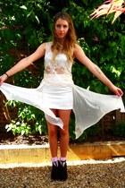 white Topshop top - white Topshop skirt - Jeffrey Campbell heels
