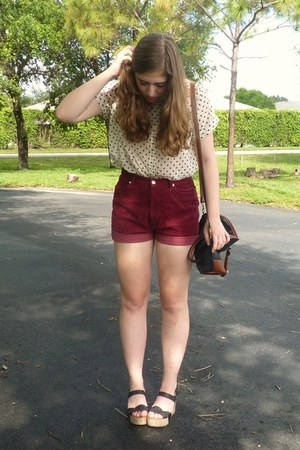 ivory Urban Outfitters shirt - crimson high waisted thrifted shorts