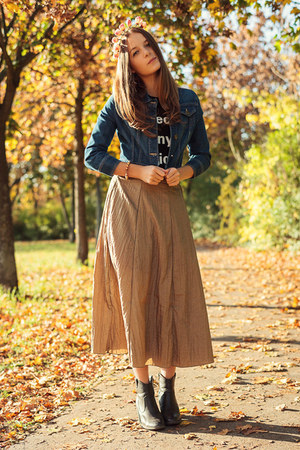 vintage skirt - H&M boots - denim new look jacket - Zara t-shirt