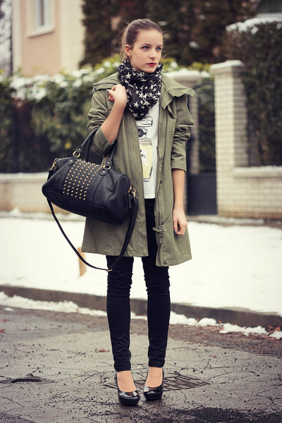 olive green H&M coat - black New Yorker scarf - black H&M bag