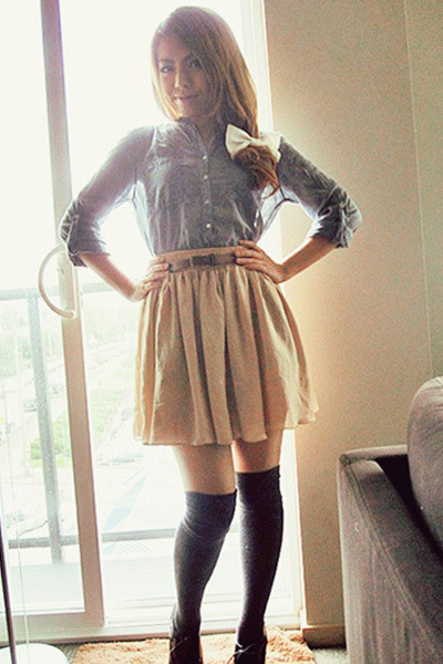 blue Zara Basic shirt - beige American Apparel skirt - gray socks - black Aldo s
