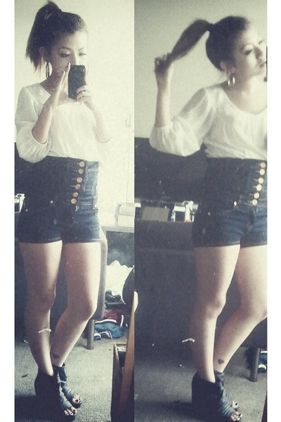 white Zara top - blue shorts - black shoes