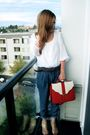 White-zara-blouse-blue-zara-pants-silver-d-g-accessories-red-purse-gold-