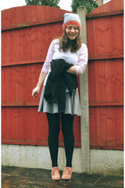 hat - heather gray skater Topshop skirt - black warehouse cardigan - asos top