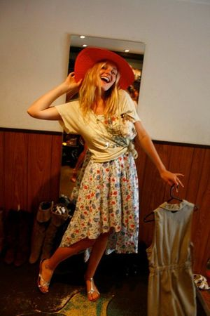 vintage from Ebay hat - my brothers shirt - Laura Ashley dress - Witchery shoes