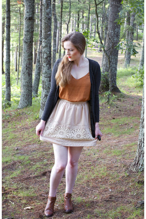 H&M top - Lucky Brand boots - Conversation Pieces skirt - H&M cardigan