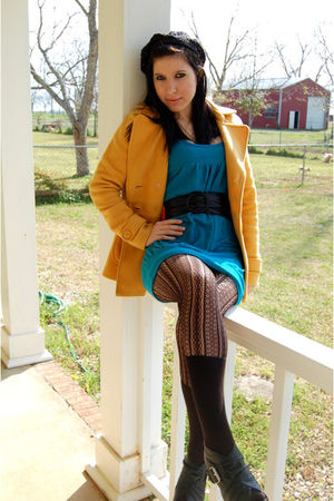 Charlotte Russe boots - Forever 21 dress - Forever 21 coat - Walmart tights - Fo