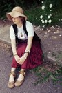 Camel-wool-charter-club-hat-white-apple-shirt-maroon-dolled-up-skirt-bronz