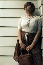 brown wicker Heiress purse - light brown American Eagle skirt - ivory Claires ne