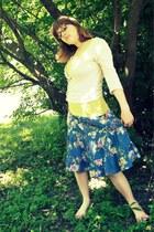light pink Gap cardigan - chartreuse cotton t-shirt - blue floral skirt H&M skir