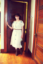 cream vintage dress thrifted vintage dress - brown lace up boots Ruff Hewn boots
