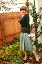 lime green cotton thrifted vintage skirt - black thrifted vintage belt
