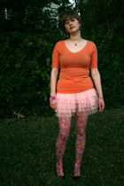 carrot orange shirt - hot pink floral tights - light pink tutu skirt