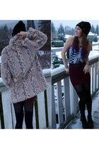 tan faux fur consignment coat - black studded knit DIY hat