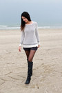Knitted-pull-bear-sweater-dark-gray-grey-mango-shorts-metal-h-m-earrings