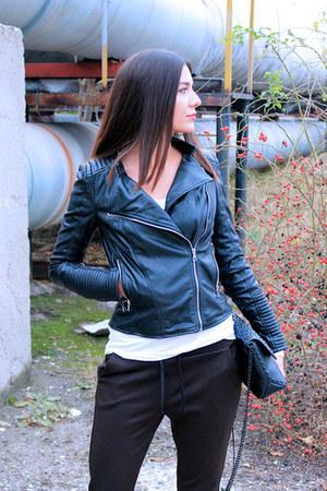 black heels Zara shoes - black faux leather Zara jacket - black spikes Zara bag