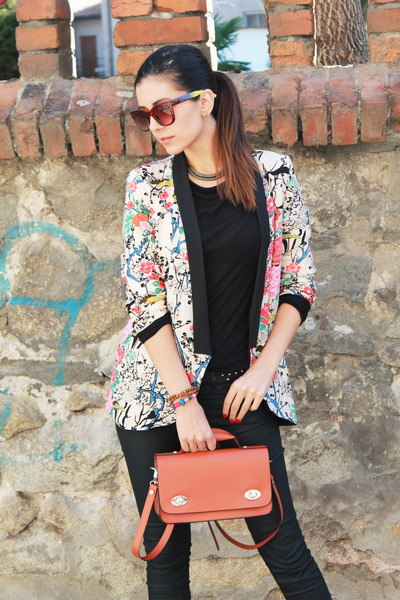 colorful Sheinside blazer - black leather Zara shoes
