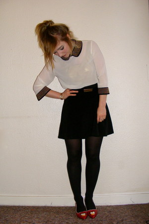 Topshop shirt - Moschino belt - Miss Selfridge skirt - Topshop flats