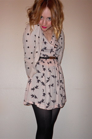 polka dot Primark cardigan - bird print H&M dress - Moschino belt