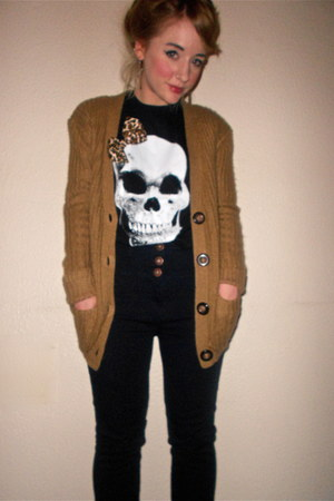 Primark cardigan - next jeans - Alice Takes A Trip t-shirt - Ebay earrings