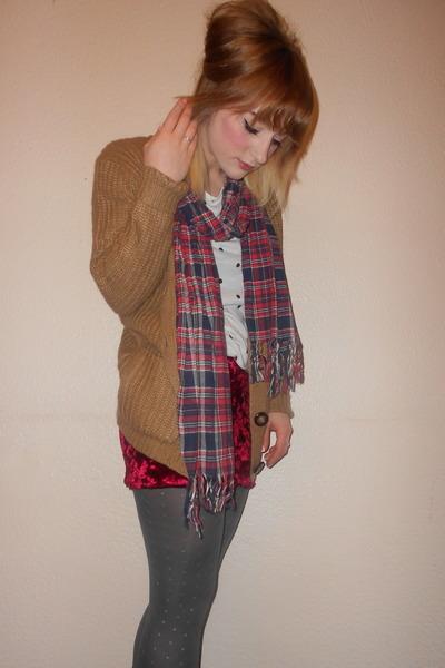 Primark skirt - grey glitter Topshop tights - mens Primark scarf - Primark top