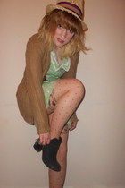 camel Primark cardigan - green cherry Henry Holland dress - straw boater M&S hat