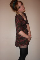 floral tea Primark dress - heart suspender Topshop tights