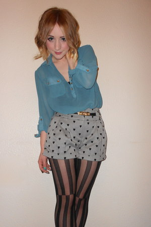 heart print Primark shorts - turquoise sheer Primark shirt