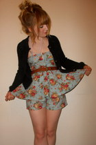 peplum thrifted romper - vintage belt - Miss Selfridge cardigan