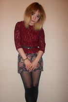 reworked vintage blouse - floral Topshop dress - Primark tights