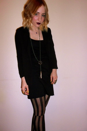striped Miss Selfridge tights - black thrifted dress - black new look blazer
