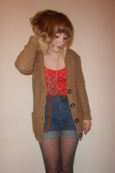 Primark cardigan - Primark tights - mens fcuk DIY shorts - H&M vest