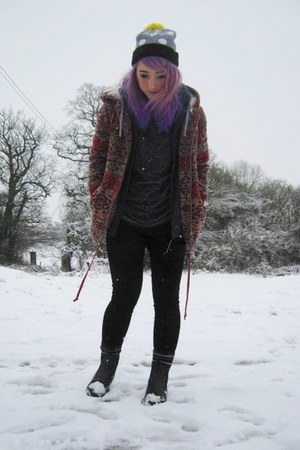 Topshop jumper - vintage boots - Topshop coat - Lazy Oaf hat - next leggings