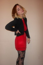 asoscom tights - Shikha dress - Primark blazer - Topshop necklace