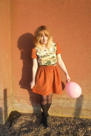 Alice Takes A Trip dress - Topshop boots - Primark tights - Moschino belt