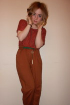 green peace Topshop necklace - Topshop pants - green skinny Primark belt