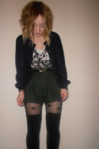 Primark socks - spotted Topshop tights - forest green Miss Selfridge shorts