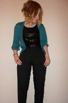 Primark pants - black sequied thrifted dress - green glittery Primark cardigan