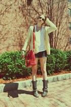allsaints boots - vintage sweater - SU-SHI bag - BCBG shorts