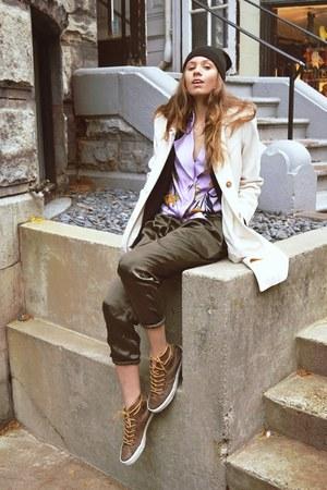 Anne Klein coat - H&M hat - Elie Tahari shirt - Converse sneakers
