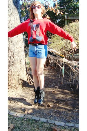 black combat boots - teal denim shorts - red thrifted 3-d hoursy sweatshirt