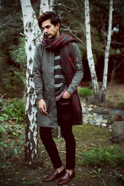 Zara jeans - Zara jacket - vintage sweater - Zara shirt - Zara scarf