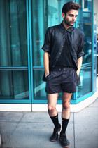 linen H&M t-shirt - Fabindia shirt - waxed running H&M shorts