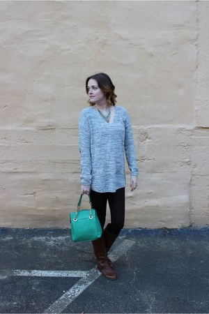 brown Payless boots - heather gray H&M sweater - black H&M leggings