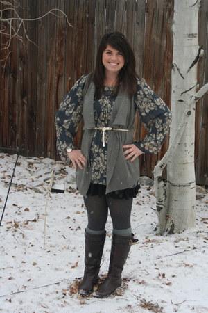 heather gray BP vest - blue BP dress - dark brown naturalizer boots - gold BP be