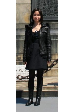 jacket - Mango dress - boots - tights - Ray Ban sunglasses