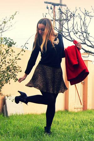 leopard print Forever New skirt - rubi boots - Forever New coat