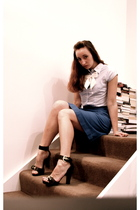 tailored in Shanghai blouse - jeanswest belt - vintage skirt - zu shoes - Foreve