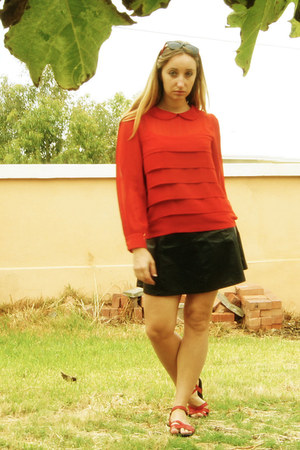 red Target blouse - black Ally skirt - red Billabong sandals