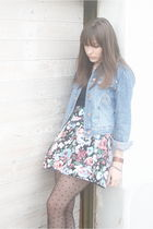blue H&M jacket - black Zara shirt - red H&M skirt